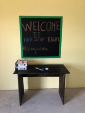 Welcome board and desk