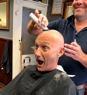 Man shocked to see totally shaved head