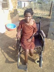 Zanele in wheelchair