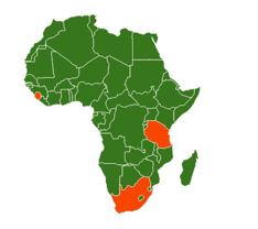 Outline map of Africa with countries of GAGA activity highlighted